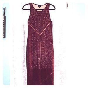 Geometric Lace Overlay Midi Dress